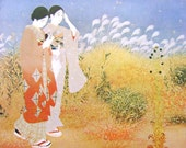 Vintage Japanese Print - Japanese Women Print - Vintage Magazine Cut Out - Fall Print - Traditional Japanese Print - Vintage Print
