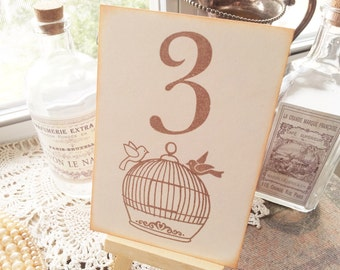 Wedding Table Numbers Table Sign Love Birds Birdcage Ivory Set of 10