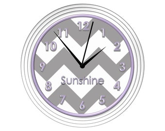 Grey Chevron Wall Clock with Lilac/Lavender Detail - Personalized