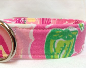 Lilly Pulitzer Repurposed Fabric Dog Collar Girl Pink Green