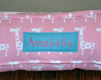 Nap Mat - Monogrammed Stretch in Baby Pink Nap Mat with a Turquoise Double-sided Minky or Minky Dot Blanket