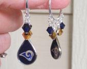 LA Rams Earrings, Los Angeles Rams Accessory, Navy and Gold Crystal Pro Football Earrings, Rams Football Bling