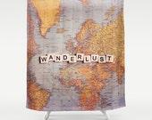 Wanderlust Fabric Shower Curtain, world map,typography,text,home decor,bath tub,yellow,home decor,travel