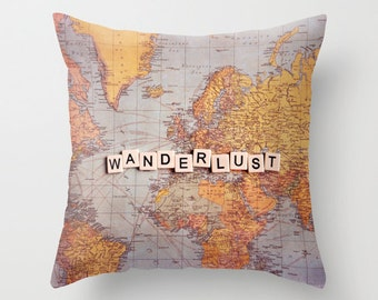 Map pillow, WANDERLUST,18x18 or 22x22, travel pillow, typography, quote,cushion,decorator pillow, homewares, photo pillow