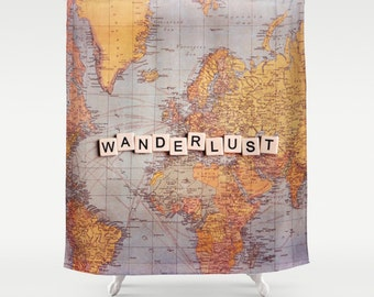 Wanderlust Fabric Shower Curtain, world map,typography,text,home decor,bath tub,yellow,home decor,travel