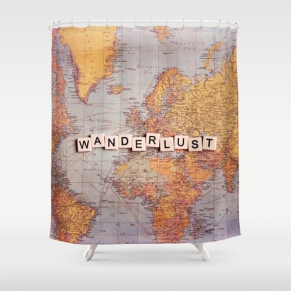 Wanderlust Fabric Shower Curtain world