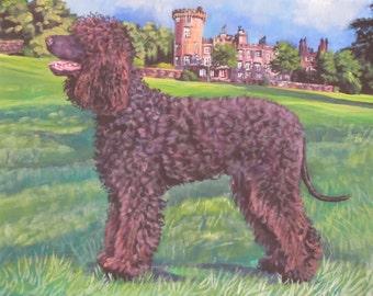 Irish Water Spaniel art CANVAS print of LA Shepard painting 11x14 dog art
