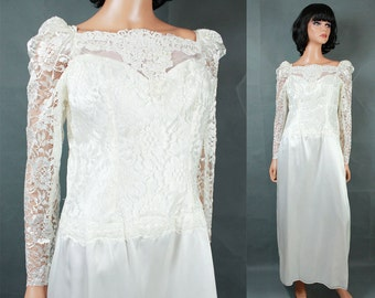Vintage 80s Wedding Gown Sz M White Long Sleeve Lace Satin Dress Pearl Beads Free US Shipping