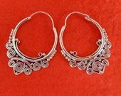 Balinese solid Silver Hoop Earrings / silver 925 / Bali handmade granulation technique / 1.35 inch long