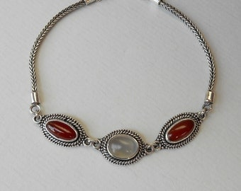 Sterling Silver bracelet moonstone carnelian gemstones / Unique Handmade Jewelry