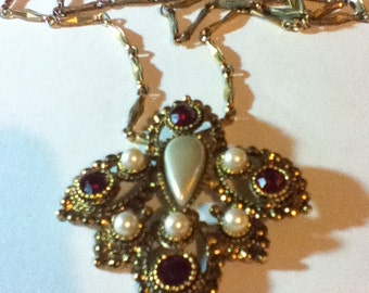 Vintage Pearl and Ruby Pendant