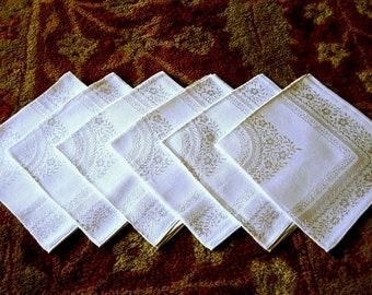 DAMASK Napkins for Tablecloth Replacement Vintage Set Butter Cream Flowers