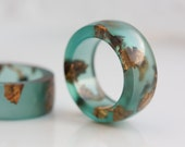 Teal Green Resin Ring Copper Gold Big Size 12 and 13 Smooth Ring OOAK mint green brown eco friendly modern resin jewelry
