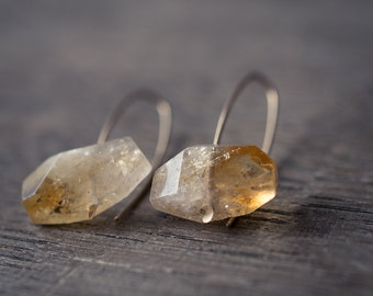 Modern Simple Citrine Earrings14K Goldfilled Hook earrings Organic Minimalist design sparkling honey yellow