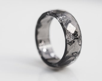 Black Resin Ring Men Ring Silver Flakes Big Size 10 size 12 Faceted Ring OOAK boho dark gray minimalist eco jewelry