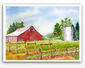 2. Red Barn Art Watercolor PRINT, Farm landscape, Vineyard painting, Barns in watercolor, Old barn art, Farmhouse decor Country scene  BDW