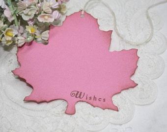 Wish Tree Wedding Tags - Bright Pink - Autumn Leaf Shape - Bridal Shower Wish Tags - Set of 25