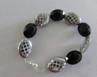 Metal and Black Beads Fun Bracelet