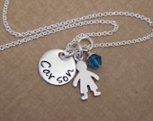 New mom necklace - Gender reveal gift - TINY name necklace - Tiny boy or Tiny Girl charm - Photo NOT actual size