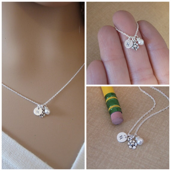 Tiny flower girl - Itty Bitty initial and birthstone necklace - Tiny initial and birthstone necklace sterling silver - Photo NOT actual size
