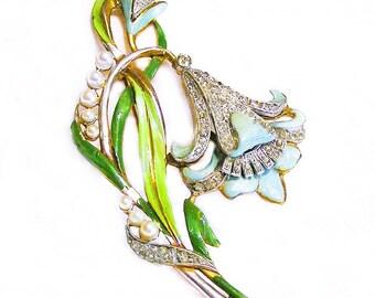 Art Deco Enamel and Rhinestone Lily Flower Brooch