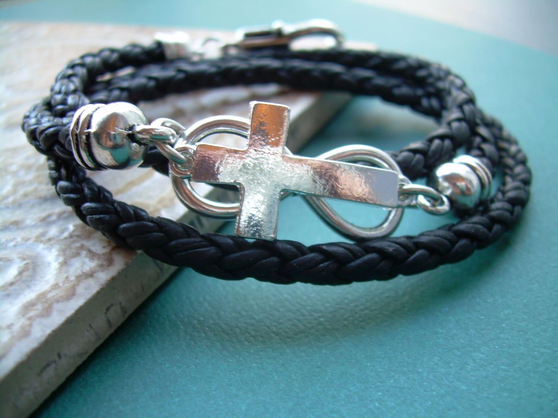 Triple Wrap Braided Leather Infinity Cross Bracelet Leather