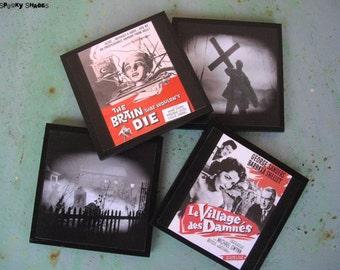 Horror Night  coasters - set of 4 wooden coasters - geekery, horror movie, classic horror, halloween decor,pop culture, fun, SPOOKY SHADES