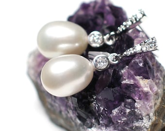 Bridal Pearl Earrings | Large White Freshwater Teardrop Pearls | Rhodium Sterling Silver CZ Studs | Trillion Crown Dangles | Ready to Ship