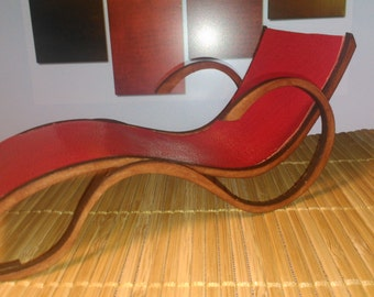 Art Nouveau style red leather chaise longue, 1/12 miniature for dollhouses