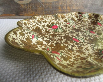 Vintage Red Rose Golden Garden Paper Mache Tray Made in Japan