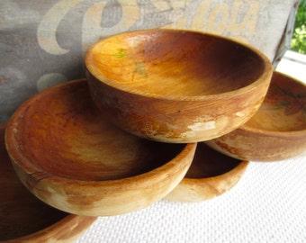 Vintage Wooden Bowls Pine Cone set of 6 Rustic Cabin Cottage Decor Salad