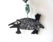 Pongo----Ceramic Marionette---Dog  on string----BLACK and white-- Gift-Chrsitmas gift---Gift under 50 USD