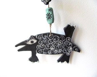 Pongo----Ceramic Marionette---Dog  on string----BLACK and white-- Gift-Chrsitmas gift---Gift under 50 USD