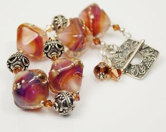 Lampwork Bracelet - Sterling Silver - Bali Silver Clasp Iridescent Purple, Pink, Fuchsia, Magenta, Amber- Beaded Jewelry 'Crystal Sunset'