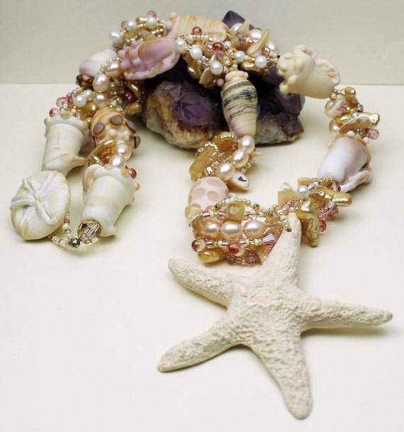 Lampwork Sea Shell Necklace and Earrings Pink Ivory Starfish Bridal Statement Necklace Couture Beaded Beach Jewelry 'Beach Wedding'