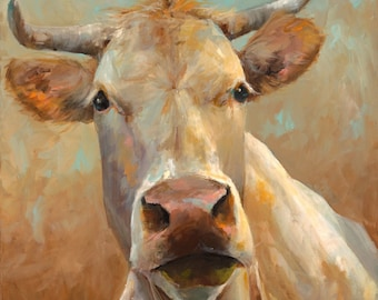 Cow Painting -Bernice -  giclee print of an original painting on stretched canvas or fine art paper