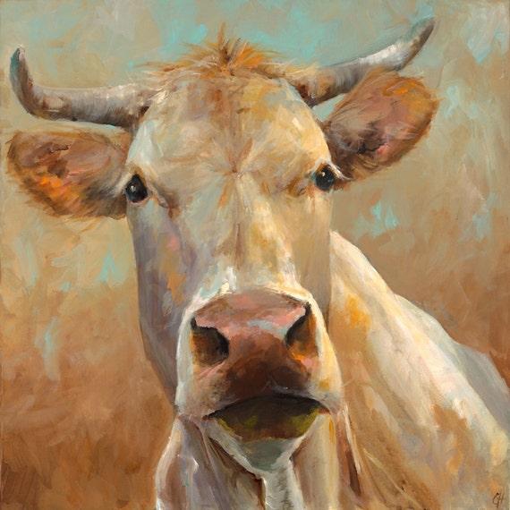 Cow painting bernice giclee print of an original painting for Cow painting print