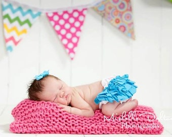 Baby Knit Mini Square Blanket - Hot Pink