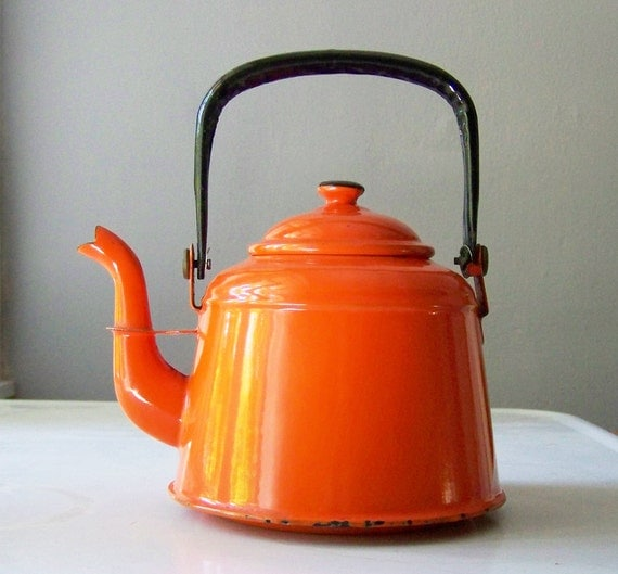Orange and Black Teapot for Fall and Halloween