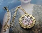Necklace Of Pink And Mint Green Czech Glass Framed In Filigrees 14Kt Gold Filled Chain
