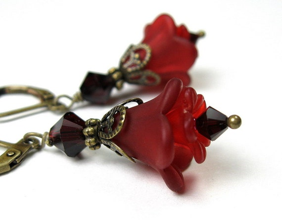 Lucite Flower Earrings, Garnet, Burgundy Wine, Swarovski Crystal, Floral Jewelry, Red Earrings, For Her, Christmas Jewelry, Stocking Stuffer