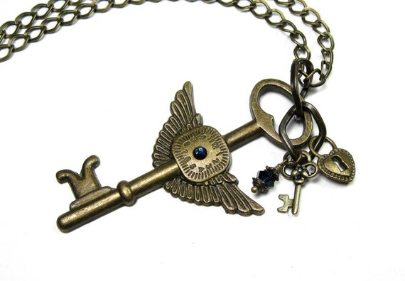 Winged Key Steampunk Necklace, Lock and Key Necklace, Heart and Key, Clock Face, Swarovski Crystal, Metal Jewelry, Steampunk Jewelry, Gothic