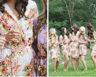 Mix and Match Bridesmaids Robes. Set of 5. Kimono Crossover Robes. Bridesmaids gifts. Getting ready robes. Bridal Party Robes. Floral Robes
