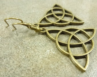 Celtic Triangle Earrings Antiqued Brass