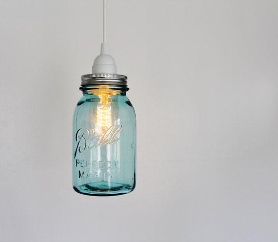 Mason Jar Pendant Lamp - Upcycled Hanging Lighting Fixture Featuring A Vintage Aqua Blue Ball Mason Jar Quart - Rustic BootsNGus Lights