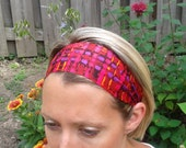 Fuchsia Workout Headband with Purple Red and Orange highlights