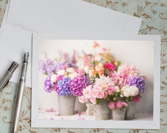 French Photo Notecard - Flower Market, French Travel Note Card, Blank Card, Stationery