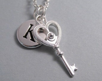 Fancy Heart Key Charm Silver Plated Charm Supplies