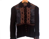 Silk Scalloped Victorian Embroidered Gothic 20s Catherine Malandrino Black Button down Blouse Shirt