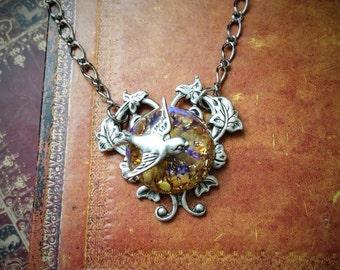 Bird Glass Cabochon Necklace